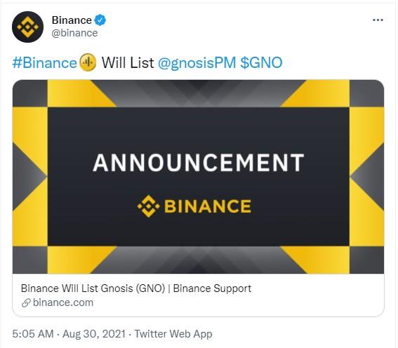 Binance Gnosis'i (GNO) Listeledi
