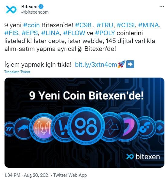 Bitexen 9 Yeni Coin Listeledi