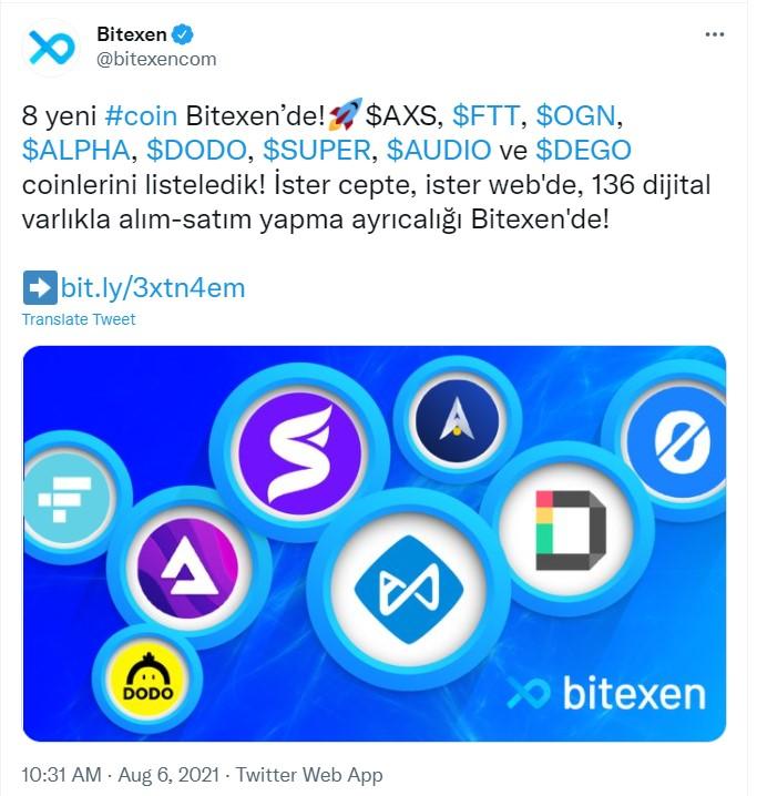 Bitexen 8 Yeni Coin Listeledi