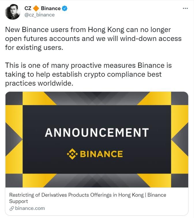Binance, Hong Kong'da Yeni Hesap Açmayı Durdurdu