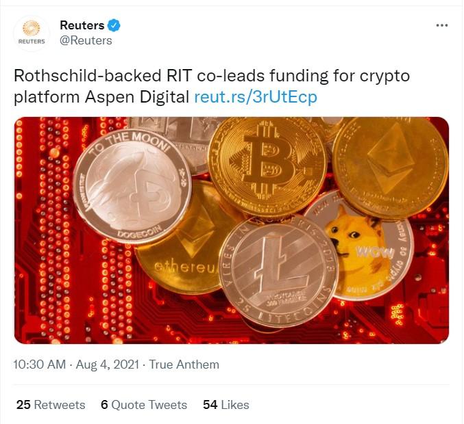 RIT Capital, Aspen Digital'a Yatırım Yaptı