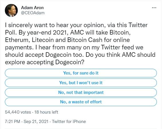 AMC Dogecoin'i Kabul Edebilir