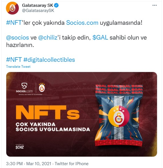 Galatasaray, NFT Dünyasına Girdi