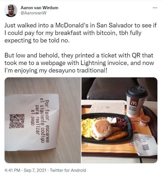 El Salvador'daki McDonald's Bitcoini Kabul Etti